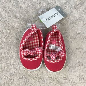Carter's Gingham Trim Shoes Bow 0-3 Months New